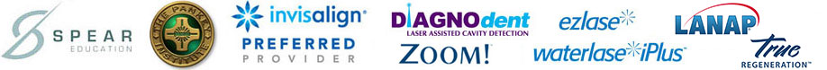 Spear Education, The Pankey Institude, Invisalign Preferred Provider, DiagnoDent laser assisted cavity detection, Ezlase, Waterlaze iPlus, Zoom Teeth Whitening.